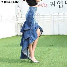 Lady długi dżinsowy spódnica wysokiej talii gradientowe dżinsy z frędzlami trąbka fajny ogon ryby syrenka czeski długie spódnice spódnice syreny kobieta