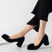 13b4d9105a492a Fur Ball Pom Pom Pumps Women Shoes Med Heel Flock Round Toe black Shallow High  Heels
