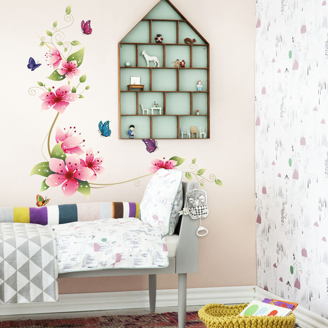 online get cheap pink butterfly wall stickers aliexpress com high quality wall stickers decal removable kid art pink flower butterflies pattern home mural decor wholesale