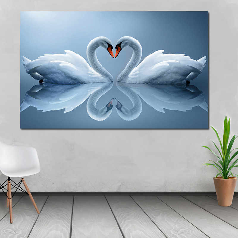Без рамки на заказ современное искусство картина маслом Печать холст Картина домашнее настенное украшение для комнаты Любовь Лебедь животное холст печать живопись