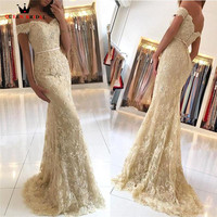 Custom Size Mermaid Cap Sleeve Tulle Lace Sexy Champagne Evening Dresses Long Formal Evening Gowns Prom Gowns LE05