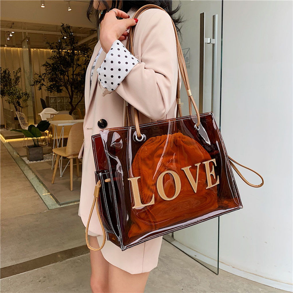 Clear Transparent PVC Shoulder Bags Women Candy Color Women Jelly Bags Purse Solid Color Handbags Large Capacity Crossbody Bag