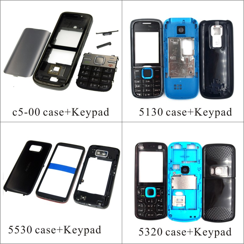 For <font><b>Nokia</b></font> <font><b>c5</b></font>-00 5130 5530 5320 <font><b>Housing</b></font> Front Faceplate Frame Cover Case+Back cover/battery door cover+Keypad image