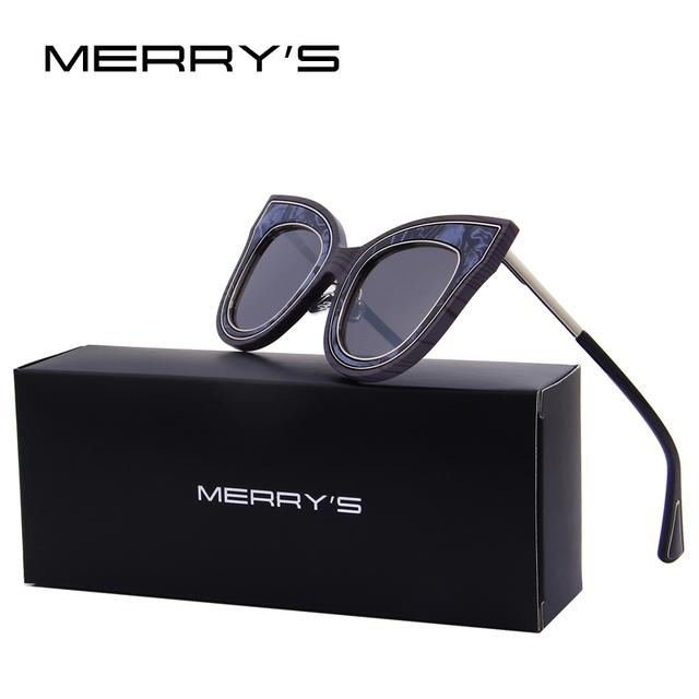 Merry's moda óculos de sol das mulheres designer de marca personalidade exagerada s'8080 cat eye retro clássico óculos de sol das mulheres