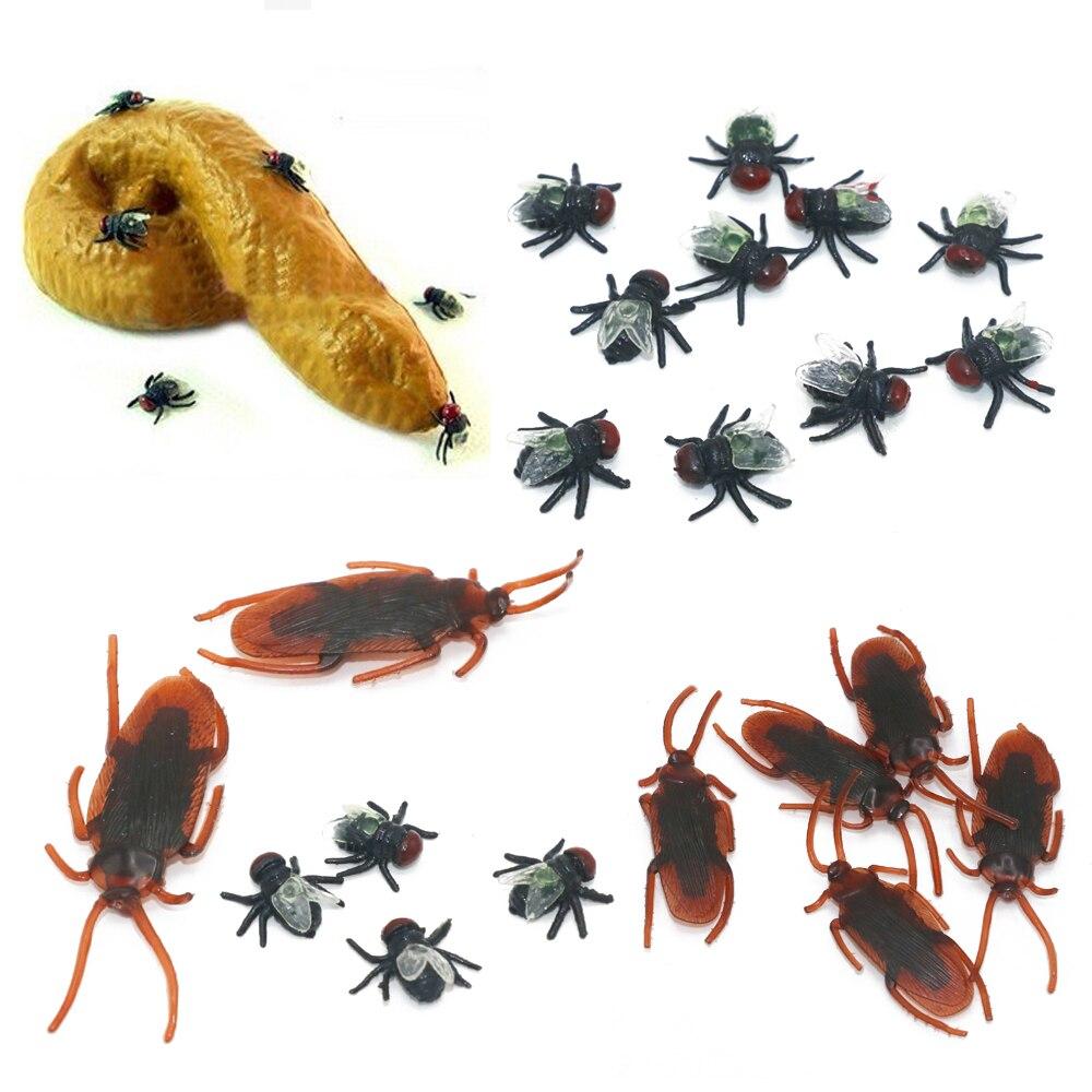 Broma de broma, regalo de broma realista, caca falsa de caca, 1 unidad de caca, 10 unidades de mosca, 10 unidades de mordaza de insectos, Juguetes Divertidos de broma de April Fool