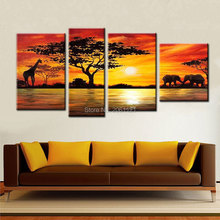 100% Hand made promotion african landscape CANVA PAINTING Abstract africa sunset HOME DECOR  Oil Painting on canvas Wall art