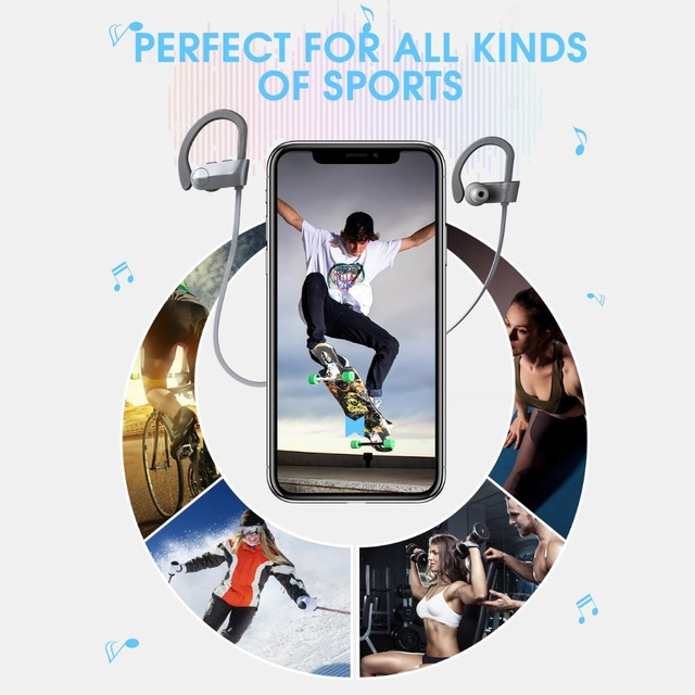 Mpow ipx7 Waterproof D7 2nd Version 10-12H Playing Time Bluetooth Wireless 4.1 Headphons Sport Earphones For iPhone Xs Xr Xiaomi 4