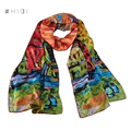 Long 100% Satin Silk Scarf Hand Rolled Edges Wassily Kandinsky's Famous Oil Painting Kandinsky Houses in Munich