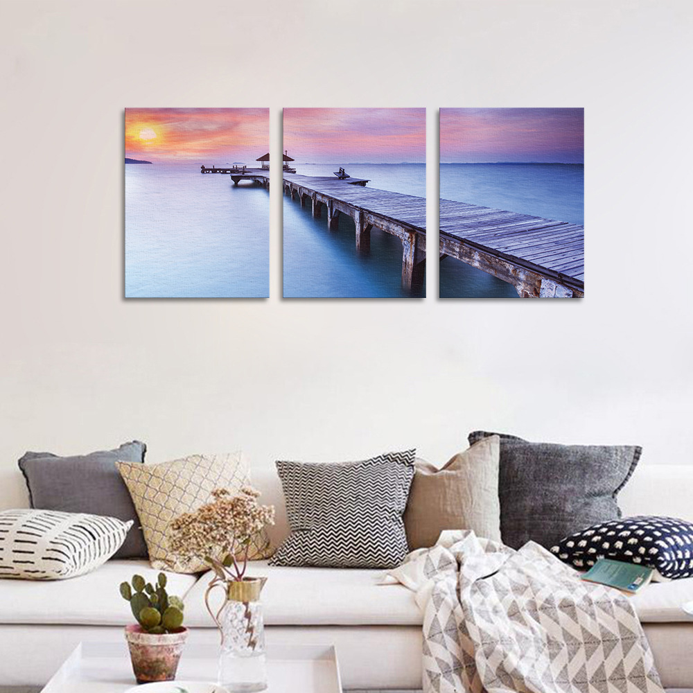 Funlife Sunset Wall Poster 3 Pcs Canvas Decorative Accessories Living Room Bedroom Wall Decals Modern Design