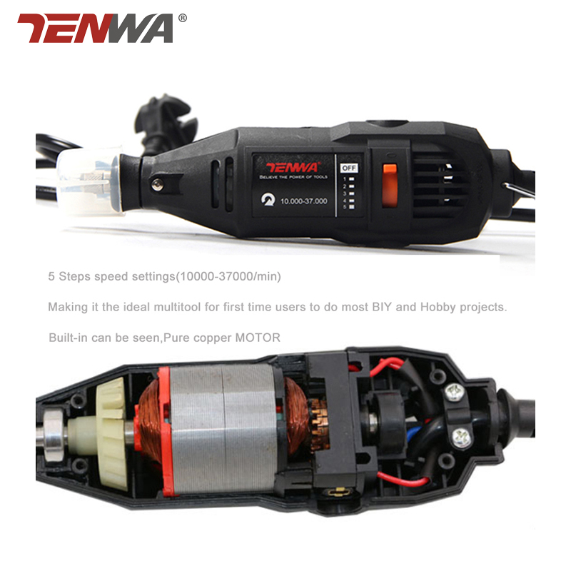 US $20 63 25% OFF|TENWA 180W Electric Mini Drill Grinder Dremel Style  Variable Speed Rotary Tools DIY Electric Hand Drill Machine with  Accessories-in