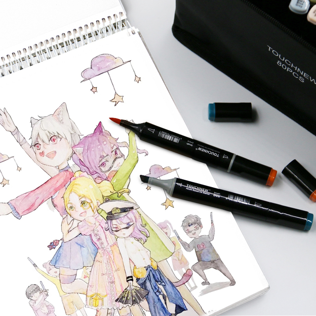 TOUCHNEW Single Color Markers Dual Brush Markers Oily Alcohol Based Sketch Markers For Drawing Manga Art Supplies Pens 5