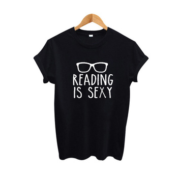 Reading Is Sexy Slogan Shirt Hipster Women Clothing 2017 Summer Funny T Shirts Black White Cotton Tee Shirt Femme Women Tops