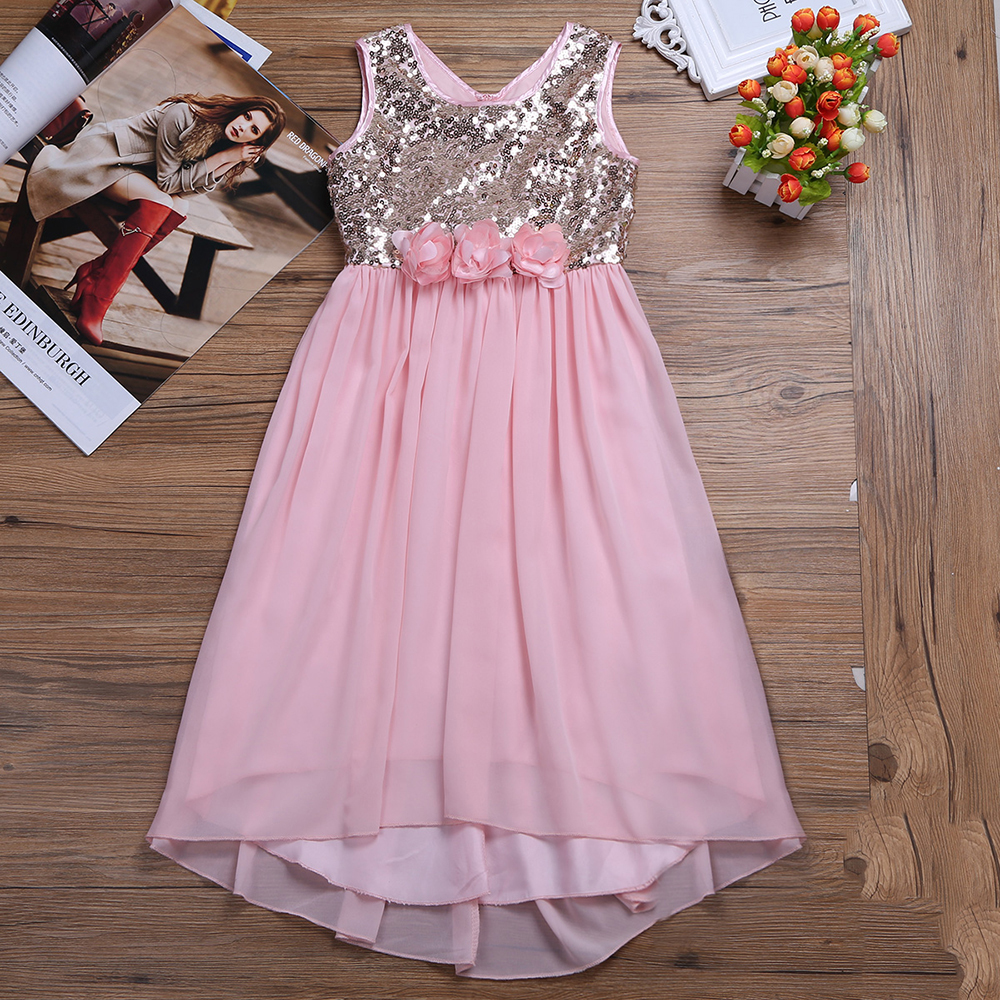 2017 New Summer Flower Girl Dress Girls Chiffon Sequins Princess Dresses Pageant Wedding Birthday Party Dress for Vestidos Gifts