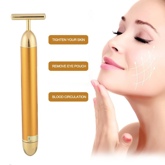 24k Gold Vibration Facial Slimming Face Beauty Bar Pulse Firming Facial Roller Massager Lift Skin Tightening Wrinkle Stick slimming face massager stick 24k gold vibration facial beauty roller lift tightening wrinkle stick bar face skin care with box