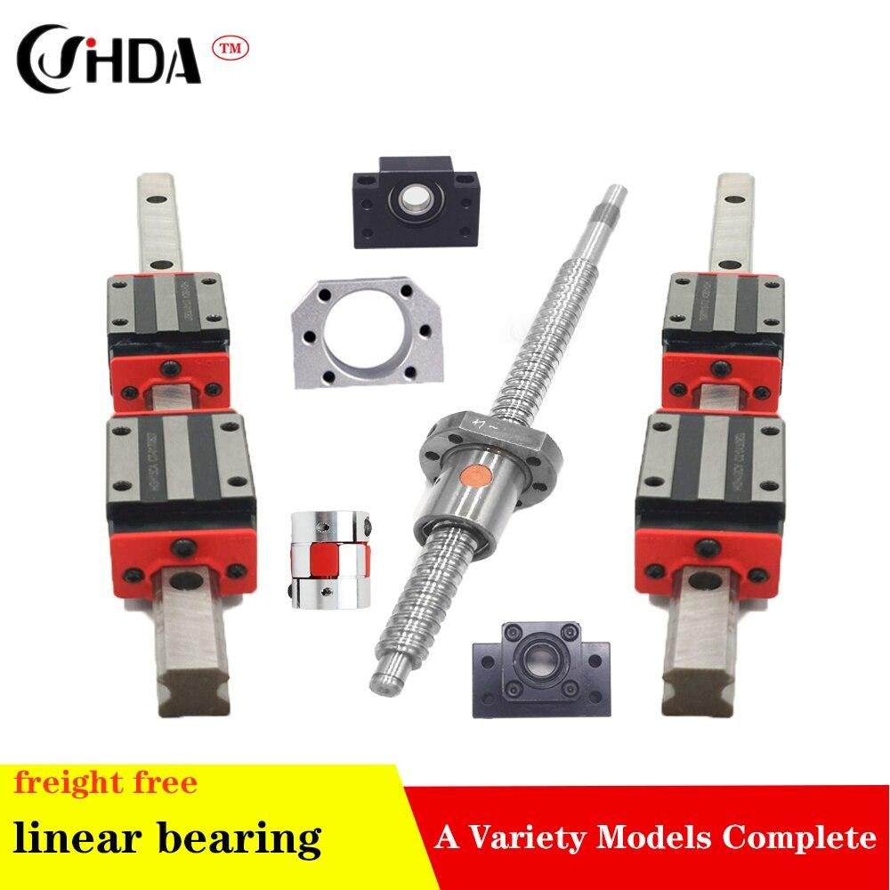 2 pc HGH20 qualquer comprimento + CONJUNTO 1 SFU1605 + 4 HGH20CA/HGW20CA +BK/BF 12 Linear guide Linear motion module