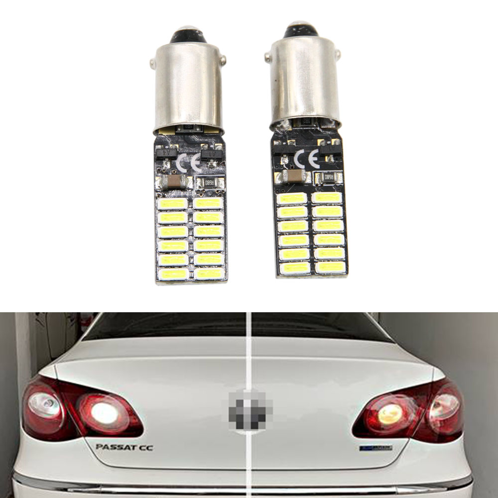 2X H6W 434 Bax9s Canbus Error Free 24 SMD LED Parking Side Light Bulbs For Passat CC (2011)