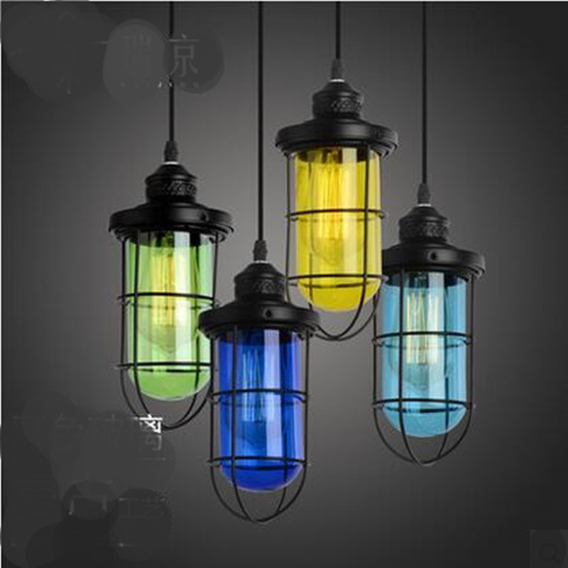ФОТО Vintage Creative Handmade Iron Candy Colors Glass Led E27 Pendant Light For Dining Room Living Room AC 80-265V 2161
