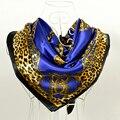 Cachecois Женщины Темно-Синий Шелковый Платок Шарф Печатных Новый Дизайн Леопардовый Сеть Pattern Обертывания Шарфы Весна 90 см Атлас шарф