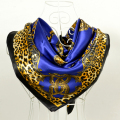 Cachecois Women Dark Blue Silk Shawl Scarf Printed New Design Leopard Print Chain Pattern Wraps Scarves Spring 90cm Satin Scarf