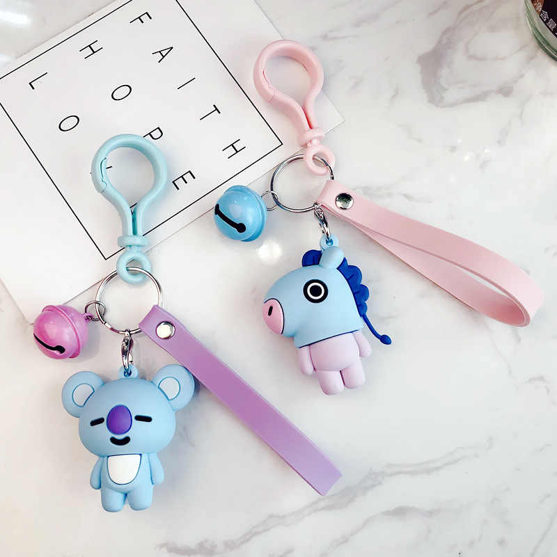 Korea Cute BTS Dolls Diy Car Key/Bag accessories  Action Figure Toy for Adult Kid Key Chain Tinkle Bell Dolls Birthday Gifts