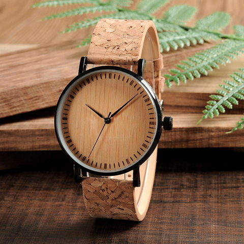 BOBO BIRD E19 Ultra Thin Bamboo Wooden Watches Men Women Simple Quartz Watches Cork Band relojes para mujer Karachi