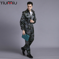 Waterproof Camouflage Reflective Military Shirts Men Raincoat Adult Split Military Uniform Army Police Sets Battle Clothes