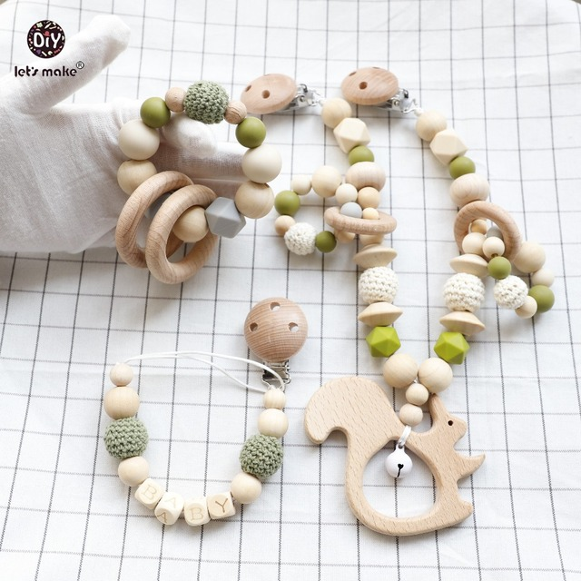 Let's Make 1set/3pc Baby Carriage Rattle Pacifier  Chain Wood Ring Food Grade Wooden Teether Car Seat Teething Toys Baby Teether