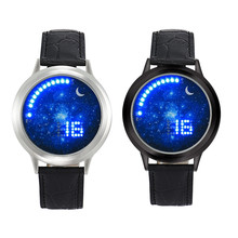 2017 NOVO Design Retro Pulseira de Couro NOVAS Mulheres Homens Menina Menino toque LED Eletrônico Multifuncional Relógio Esportivo Relógios de Negócios #77
