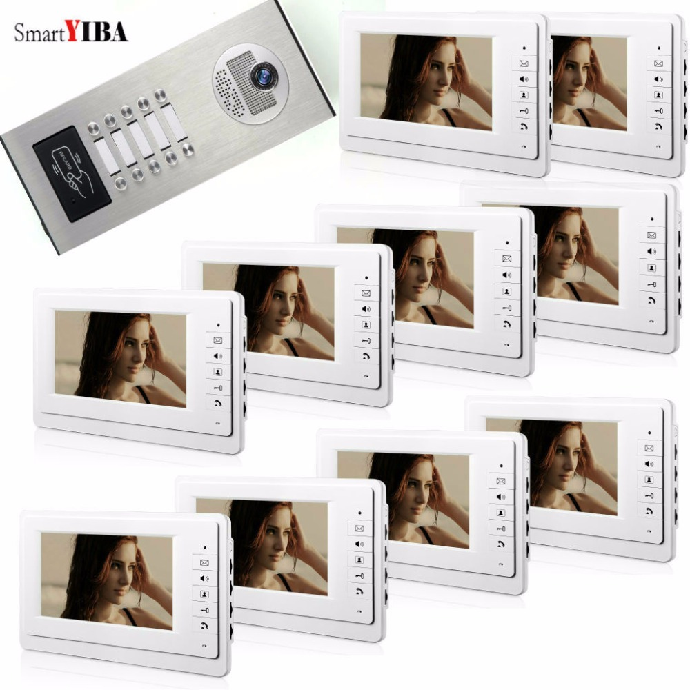 SmartYIBA RFID Control Video Intercom 7 Inch Monitor Video Door Phone Doorbell System RFID Access Door IR Camera For 10 Family
