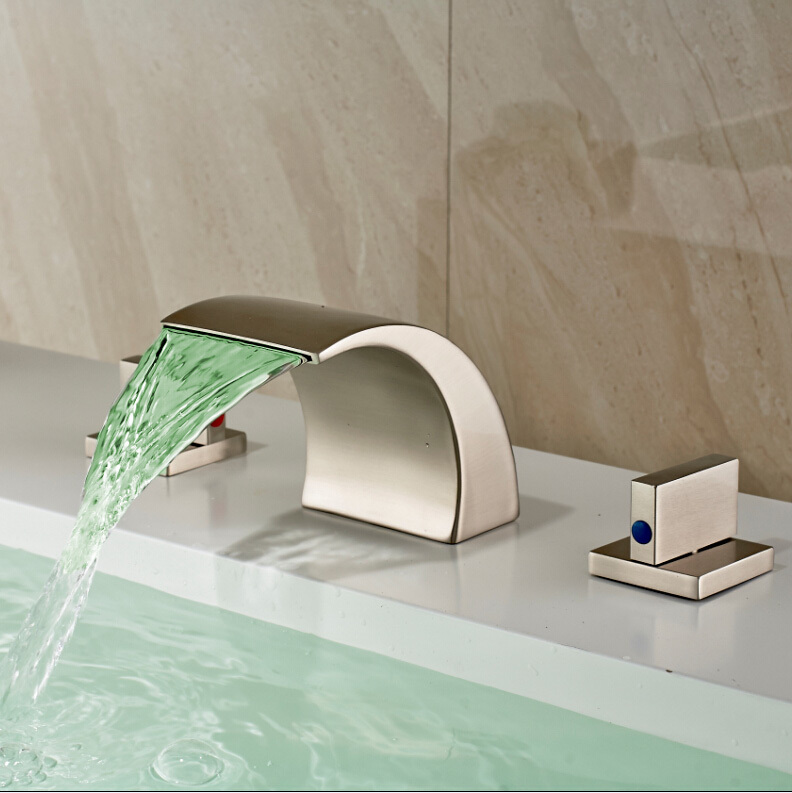 New Arrive Dual Handles LED Color Changing Bathroom Sink Mixer Faucet Modern Brushed Nickel Deck Mounted
