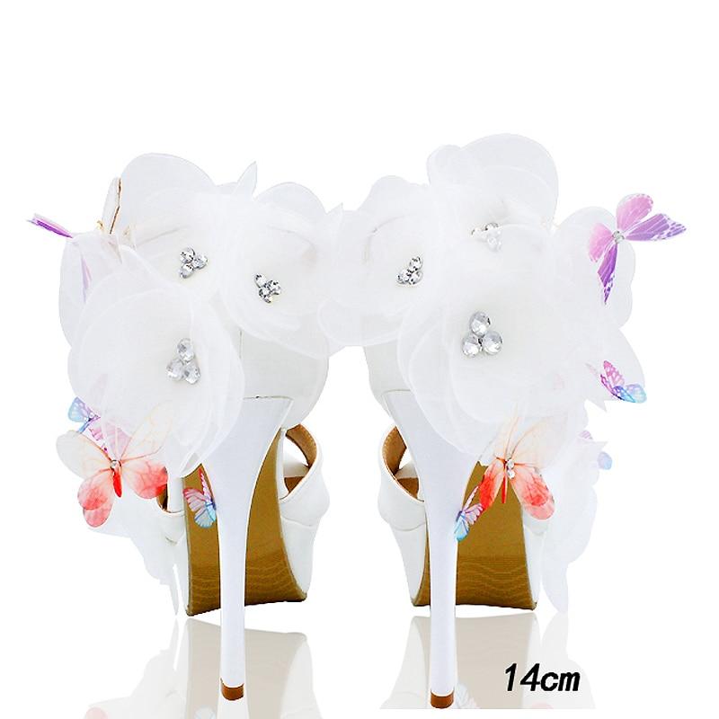 Mariposa Ws1717 14cm Dulces Tobillo 12cm De Sandalias 10cm Peep Mujer Señoras Cristal white Plataforma Talones 2018 Blanco Toe White Zapatos La Alto Flor Correa white Boda qwftCHf