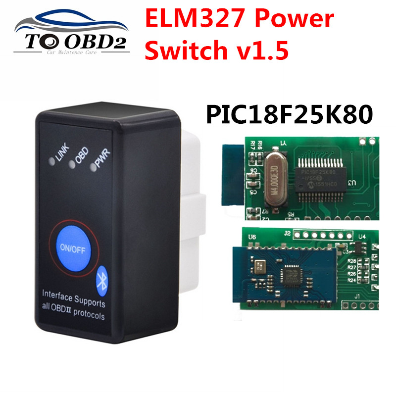 <font><b>V1.5</b></font> MINI ELM327 Bluetooth ON/OFF Switch with PIC18F25K80 chip ELM <font><b>327</b></font> Version 1.5 OBD2/OBDII for Android Torque Car Code Scanne image
