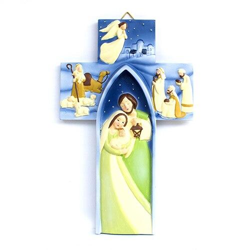 Exquisito colgante de Cruz de resina-Jesús fue nacido | regalos de Navidad cristiana ornamento decoración hogar Decoración cruz latina pintada por Jesús Juego de puzle para niños, competición de campo traviesa, juegos de mesa familiares de inteligencia para Padres