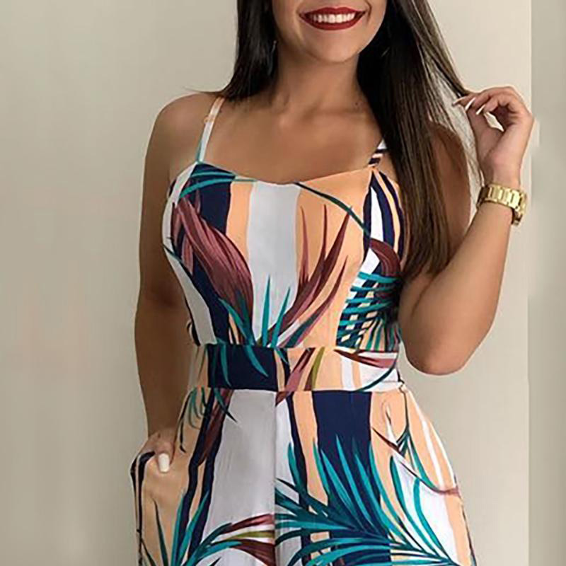 2019 Women Leaf Print Wide Leg Bodycon Jumpsuit Sleeveless Spaghetti Strap Streetwear Fashion Summer Bohemain Style Jumpsuits in Jumpsuits from Women 39 s Clothing