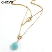 Chicvie модные ожерелья с синими бусинами из натурального камня