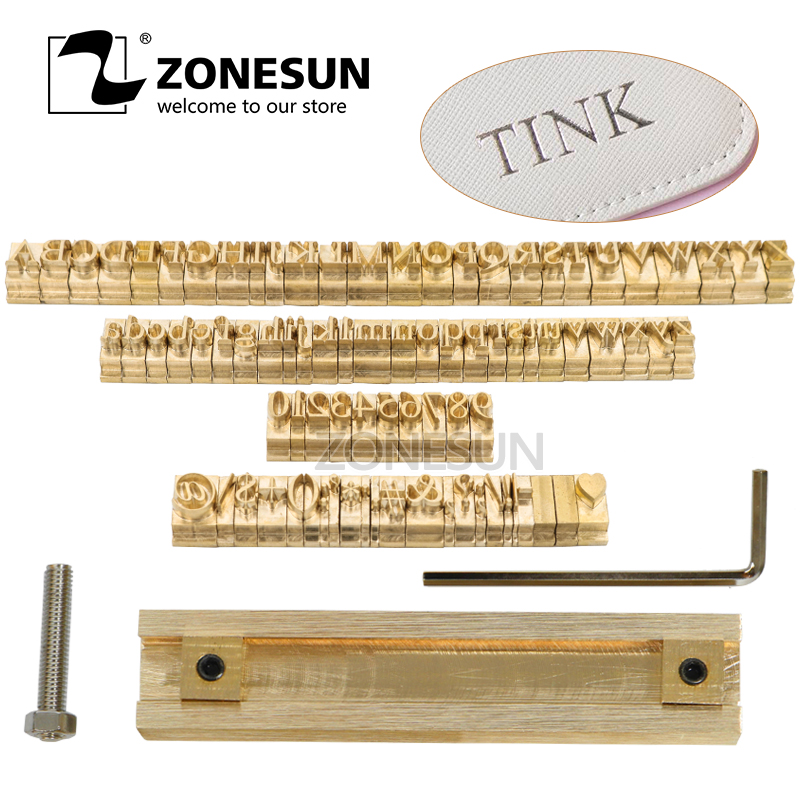ZONESUN T-slot Custom Logo Brass Letter Set Mold Hot Foil Leather Stamp Copper Alphabet Press Customized DIY Character Mold