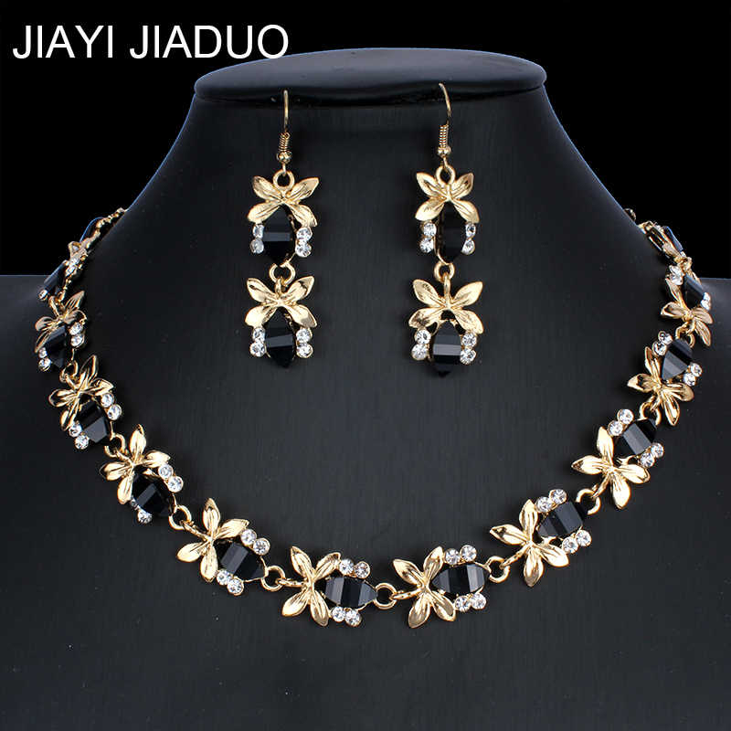 Jiayijiaduo Nigerian Jewelry Set Color Necklace Earrings for Glamour Women's Clothing Accessories Gifts New