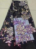 Embroidered Tulle Lace Fabric, Pearls Lace Applique Fabric For Wedding Black and purple Color African Sequin Lace Fabric