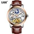 LIGE Brand мужские часы Moon phase Tourbillon Hollow Автоматические Часы Мужчины Водонепроницаемый Повседневная Бизнес Наручные часы