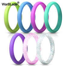 Fashion 2.7mm Food Grade FDA Silicone Ring Hypoallergenic Crossfit Flexible Sports Silicone Finger Ring For Women Wedding Rings(China)