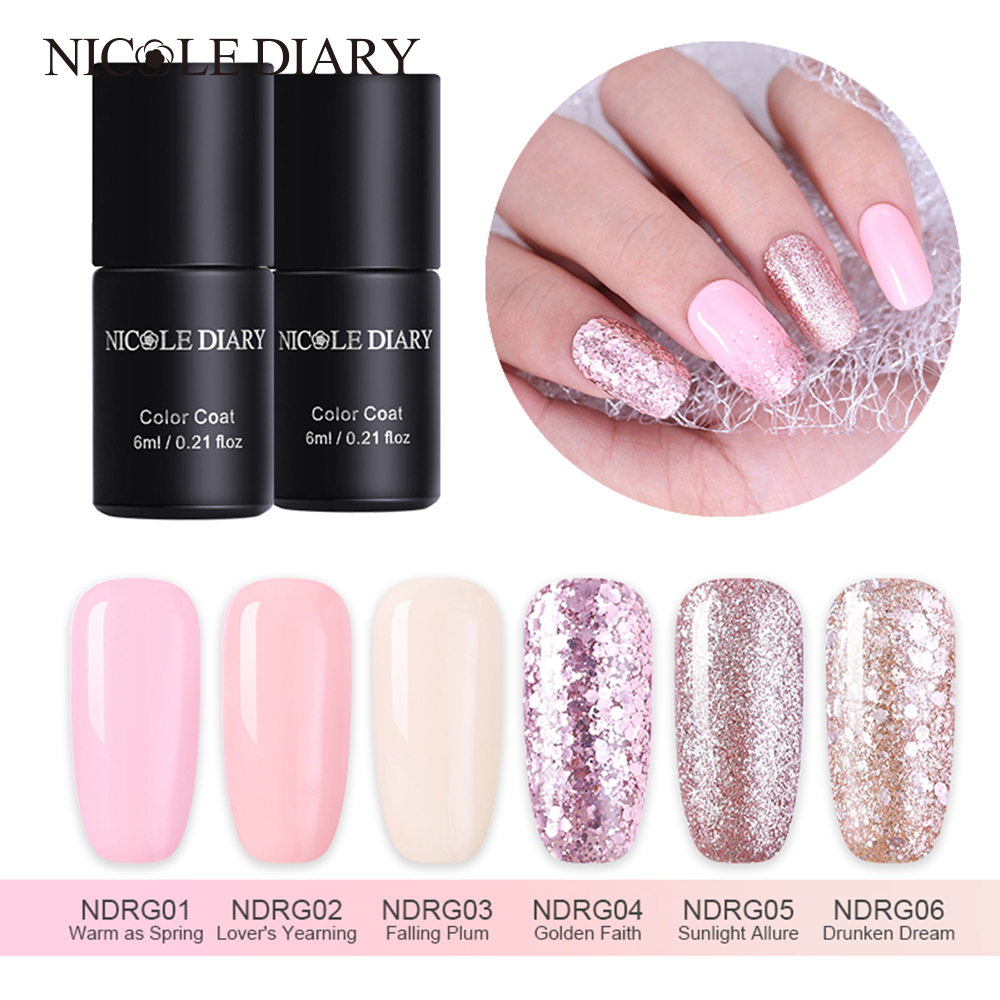 NICOLE DIARY Rose Gold Gel Nail Polish  Color Coat Shinny Glitter Gel Varnish Soak Off Long Lasting Nail Gel UV Led Polish