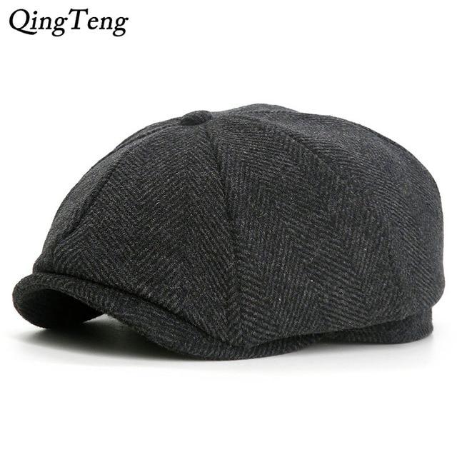 Octagon Herringbone Newsboy Cap Vintage Wool Men Beret Casual Peaked Caps  Ivy Cap For Women Flat Hat French Pumpkin Hat 45f57e9723c