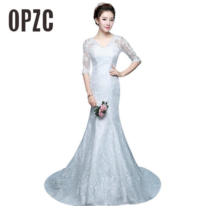 New Arrival Red White V Neck Lace Half Sleeve Meermaid Wedding Dress 2017 Vestidos De Novia Vintage Count Train Appliques Brides