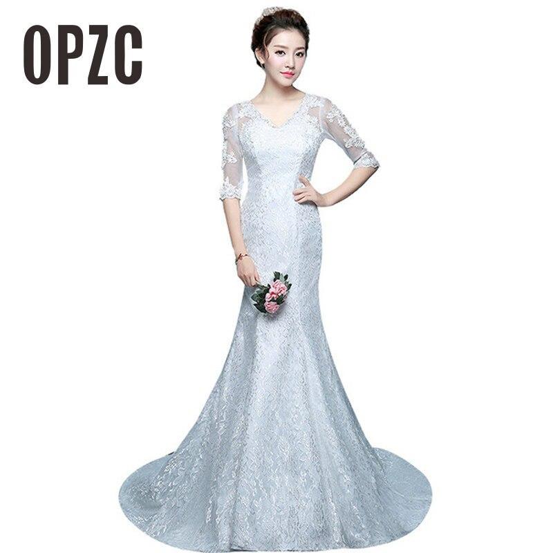 New Arrival Red White V Neck Lace half Sleeve Meermaid Wedding Dress 2020 Vestidos De Novia Vintage Count Train Appliques Brides