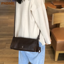 PNDME casual simple genuine leather ladies shoulder bag fashion crossbody bags soft cowhide womens small square