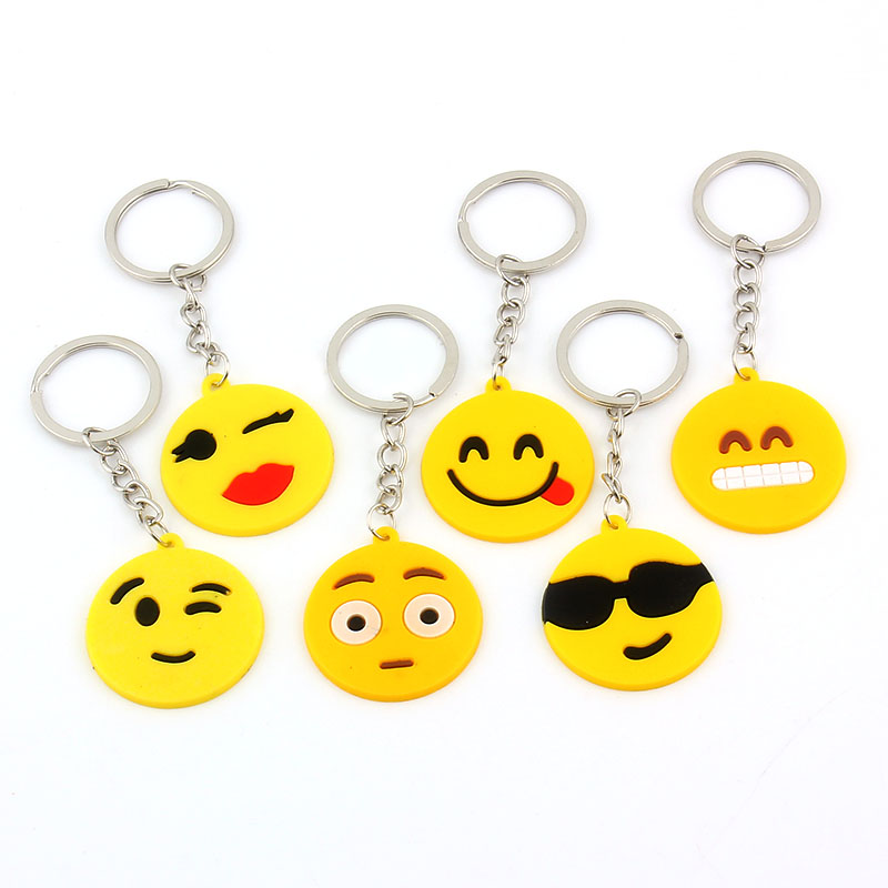 12pcs Face Emoticon Smiley Face Keychain Holder Long Pendants For Women Jewelry