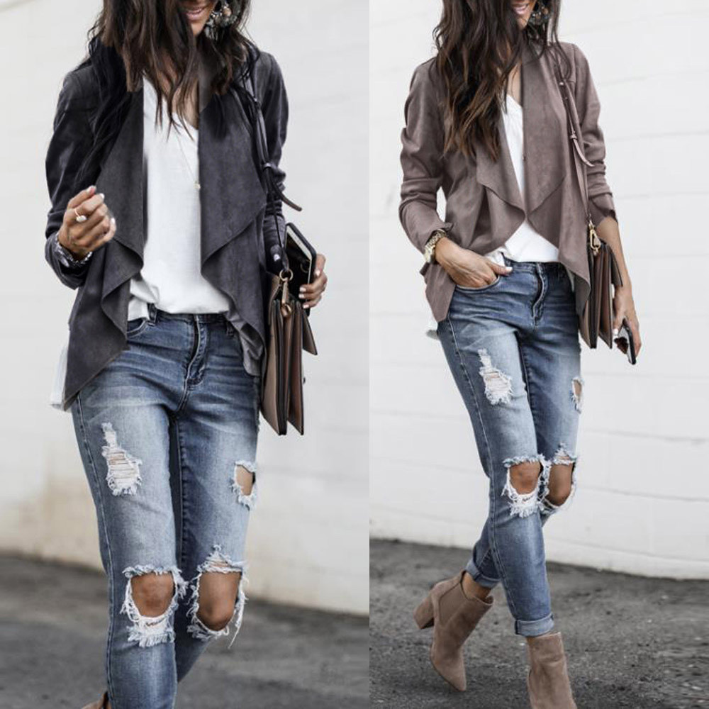 New Womens Long Sleeve Leather Suit Casual Solid Open Front Short Cardigan Suit Jacket Work Office Coat 9.3