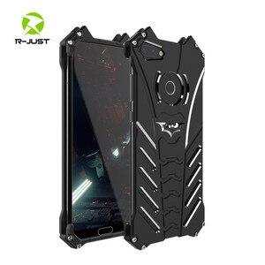 Image 1 - יוקרה באטמן Kickstand עמיד הלם מקרה עבור Huawei Honor 10 לייט אלומיניום פגוש עור שריון מתכת כריכה אחורית