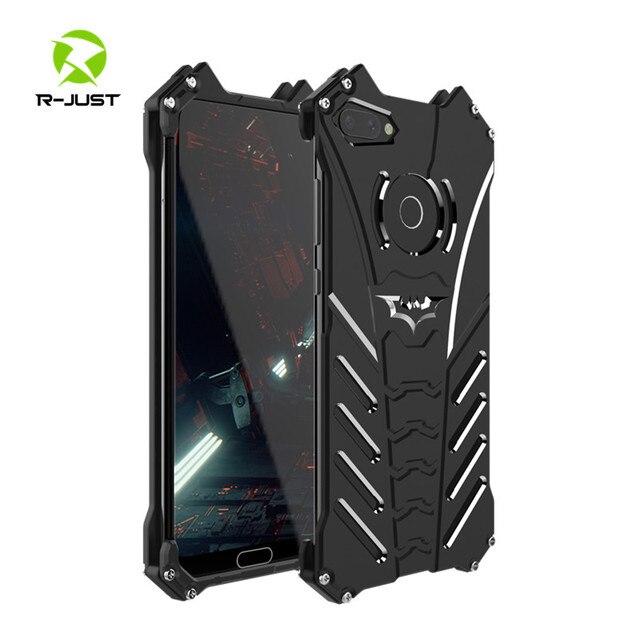 יוקרה באטמן Kickstand עמיד הלם מקרה עבור Huawei Honor 10 לייט אלומיניום פגוש עור שריון מתכת כריכה אחורית