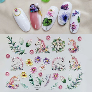 Image 2 - Fashion 3D Stickers Acrylic Engraved Flower Plant Nail Sticker Embossed Flower Nail Water Decals Empaistic Nail Slide Decals